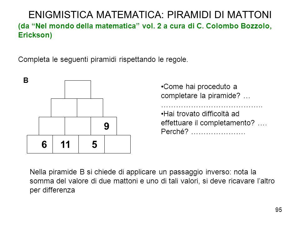 """95 ENIGMISTICA MATEMATICA: PIRAMIDI DI MATTONI (da """"Nel mondo della matematica"""" vol. 2 a cura di C. Colombo Bozzolo, Erickson) Completa le seguenti pi"""