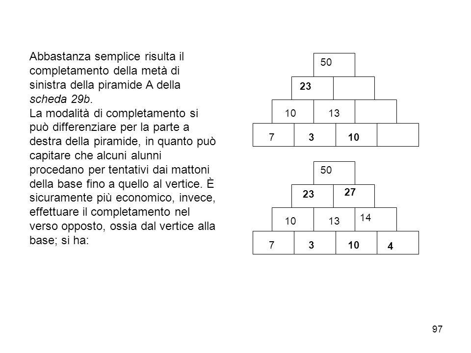 97 Abbastanza semplice risulta il completamento della metà di sinistra della piramide A della scheda 29b. La modalità di completamento si può differen