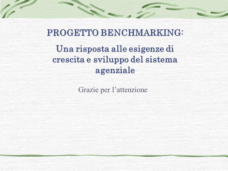 PROGETTO BENCHMARKING: Una risposta alle esigenze di crescita e sviluppo del sistema agenziale Grazie per l'attenzione