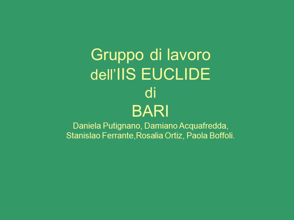 Gruppo di lavoro dell' IIS EUCLIDE di BARI Daniela Putignano, Damiano Acquafredda, Stanislao Ferrante,Rosalia Ortiz, Paola Boffoli.