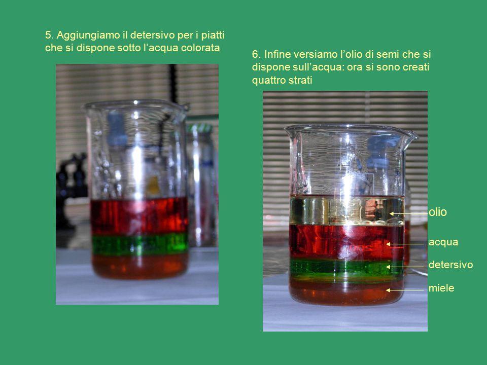5. Aggiungiamo il detersivo per i piatti che si dispone sotto l'acqua colorata 6. Infine versiamo l'olio di semi che si dispone sull'acqua: ora si son