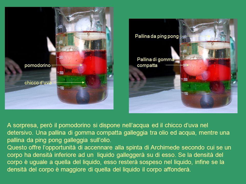 A sorpresa, però il pomodorino si dispone nell'acqua ed il chicco d'uva nel detersivo. Una pallina di gomma compatta galleggia tra olio ed acqua, ment
