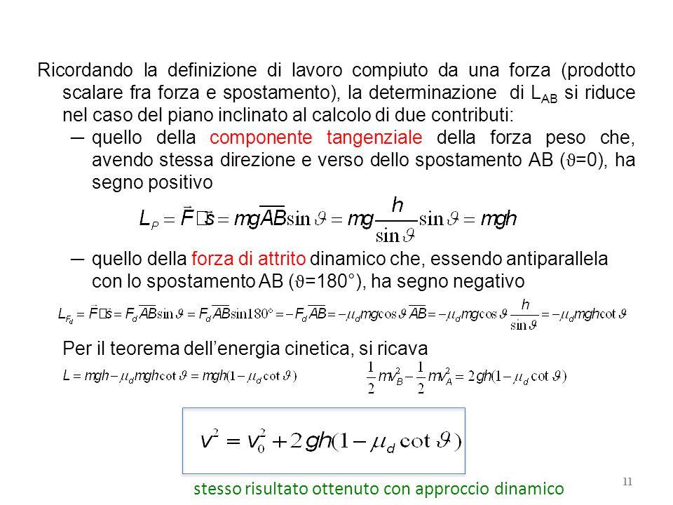 Ricordando la definizione di lavoro compiuto da una forza (prodotto scalare fra forza e spostamento), la determinazione di L AB si riduce nel caso del piano inclinato al calcolo di due contributi: ─ quello della componente tangenziale della forza peso che, avendo stessa direzione e verso dello spostamento AB ( ϑ =0), ha segno positivo ─ quello della forza di attrito dinamico che, essendo antiparallela con lo spostamento AB ( ϑ =180°), ha segno negativo Per il teorema dell'energia cinetica, si ricava 11 stesso risultato ottenuto con approccio dinamico