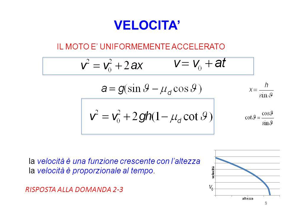 8 VELOCITA' IL MOTO E' UNIFORMEMENTE ACCELERATO la velocità è una funzione crescente con l'altezza la velocità è proporzionale al tempo.