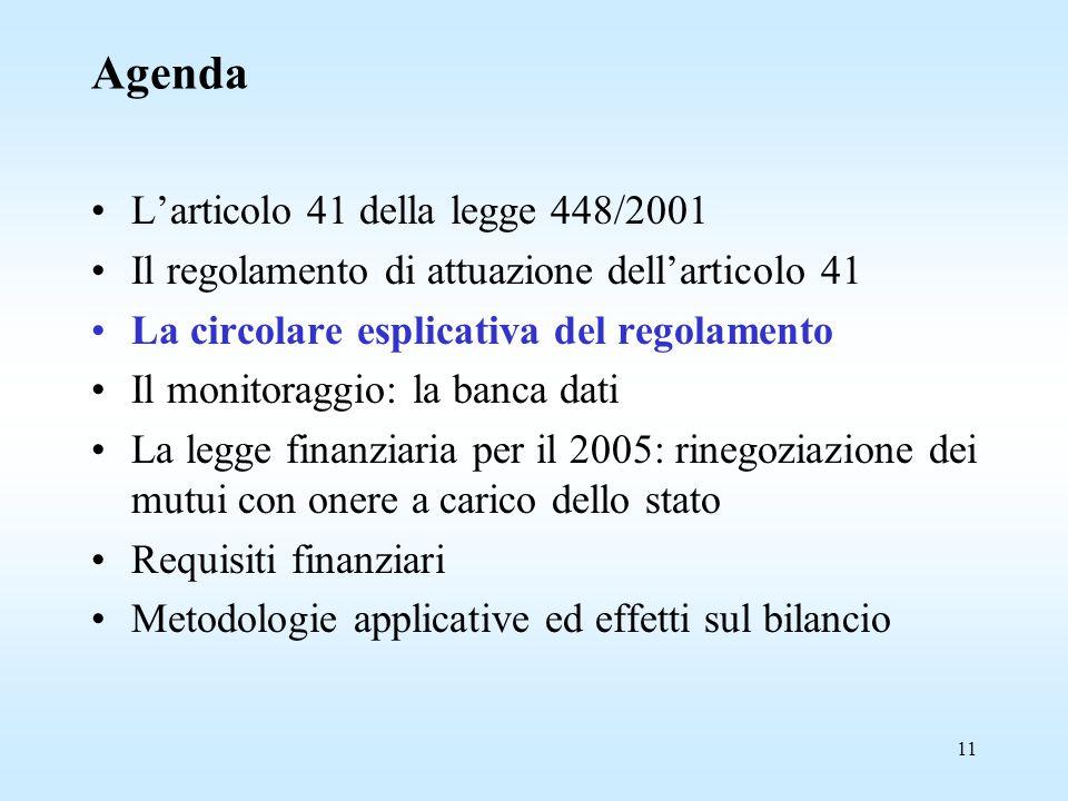 11 Agenda L'articolo 41 della legge 448/2001 Il regolamento di attuazione dell'articolo 41 La circolare esplicativa del regolamento Il monitoraggio: la banca dati La legge finanziaria per il 2005: rinegoziazione dei mutui con onere a carico dello stato Requisiti finanziari Metodologie applicative ed effetti sul bilancio