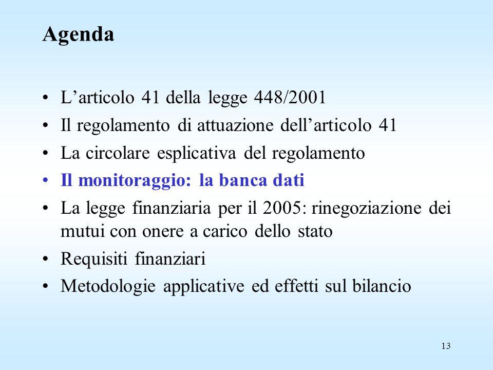 13 Agenda L'articolo 41 della legge 448/2001 Il regolamento di attuazione dell'articolo 41 La circolare esplicativa del regolamento Il monitoraggio: la banca dati La legge finanziaria per il 2005: rinegoziazione dei mutui con onere a carico dello stato Requisiti finanziari Metodologie applicative ed effetti sul bilancio