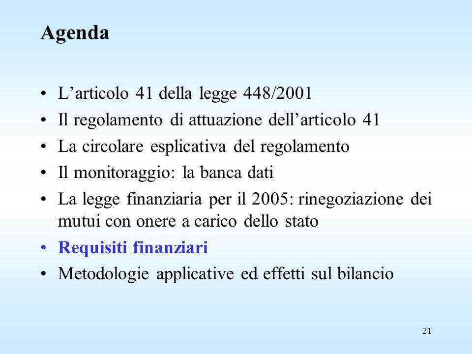 21 Agenda L'articolo 41 della legge 448/2001 Il regolamento di attuazione dell'articolo 41 La circolare esplicativa del regolamento Il monitoraggio: la banca dati La legge finanziaria per il 2005: rinegoziazione dei mutui con onere a carico dello stato Requisiti finanziari Metodologie applicative ed effetti sul bilancio