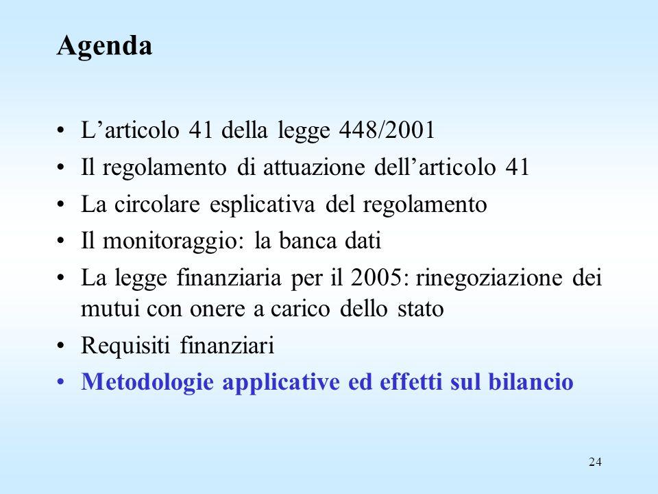 24 Agenda L'articolo 41 della legge 448/2001 Il regolamento di attuazione dell'articolo 41 La circolare esplicativa del regolamento Il monitoraggio: la banca dati La legge finanziaria per il 2005: rinegoziazione dei mutui con onere a carico dello stato Requisiti finanziari Metodologie applicative ed effetti sul bilancio
