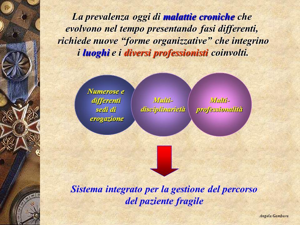 La prevalenza oggi di malattie croniche che evolvono nel tempo presentando fasi differenti, richiede nuove forme organizzative che integrino richiede nuove forme organizzative che integrino i luoghi e i diversi professionisti coinvolti.