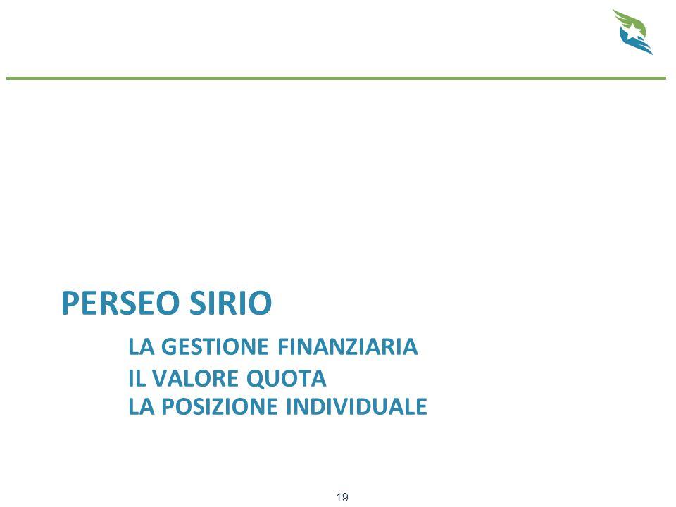 PERSEO SIRIO LA GESTIONE FINANZIARIA IL VALORE QUOTA LA POSIZIONE INDIVIDUALE 19