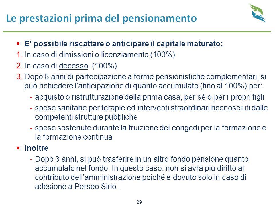 Le prestazioni prima del pensionamento  E' possibile riscattare o anticipare il capitale maturato: 1.In caso di dimissioni o licenziamento (100%) 2.In caso di decesso.