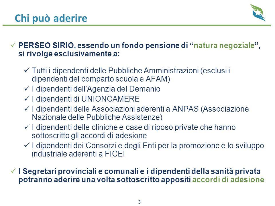 Facciamo i conti (reale 2013) (1) Retribuzione imponibile € 23.100,00 annui  Contributo mensile € 17,77 + € 17,77 datore = € 35,54  Ritenuta in busta paga € 12,97  Risparmio d'imposta € 4,80 Quota associativa € 16,00 annui = € 1,33 mensili Accredito mensile nella posizione individuale = € 35,54 – € 1,33 = € 34,21 Saldo della posizione al 30.12.2013 = € 453,59 Composizione della posizione individuale presso Perseo Sirio  Totale accrediti 1.1 – 31.12.2013 = € 34,21 x 12 + 35,54 (2) = € 446,06  Rendimento della gestione = € 8,71 (+ 1,96%) Vantaggio totale: € 454,77 – (12,97 x 13) = 453,59 – 168,61 = € 286,16 (1)Si è scelto il 2013 perché, a seguito della promozione dicembre/febbraio 2013, nel 2014 non è stata pagata la quota associativa (2)Il contributo da 13^ (2012) non è assoggettato alla ritenuta per quota associativa 24