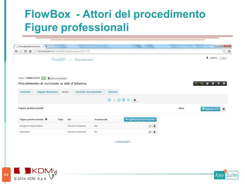 FlowBox - Attori del procedimento Figure professionali © 2014 KDM S.p.A. 15