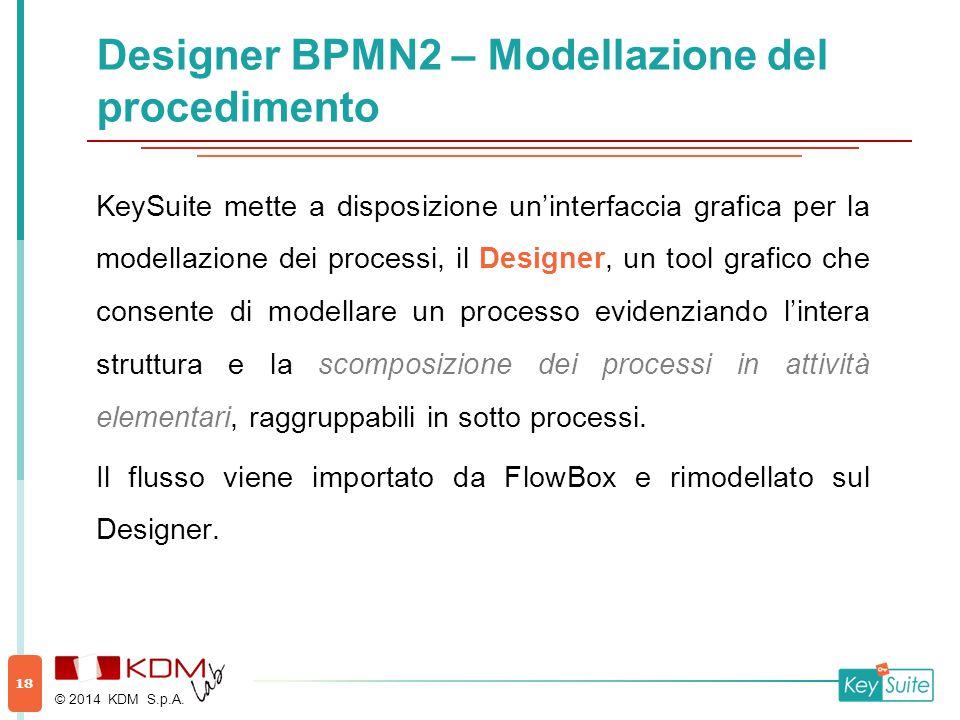 Designer BPMN2 – Modellazione del procedimento KeySuite mette a disposizione un'interfaccia grafica per la modellazione dei processi, il Designer, un tool grafico che consente di modellare un processo evidenziando l'intera struttura e la scomposizione dei processi in attività elementari, raggruppabili in sotto processi.