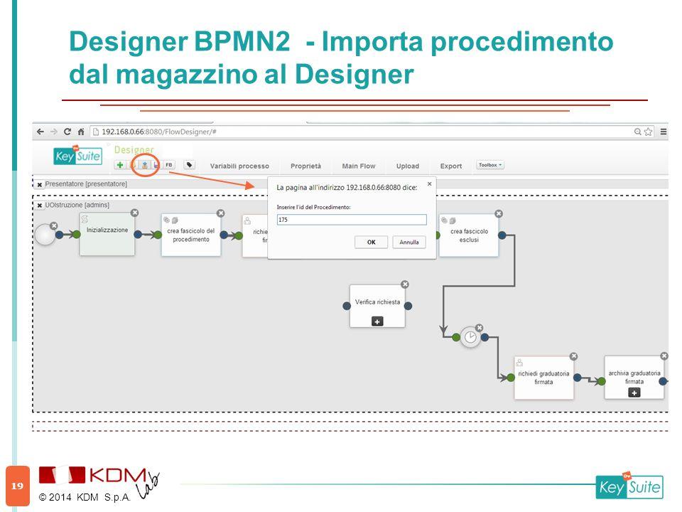 Designer BPMN2 - Importa procedimento dal magazzino al Designer © 2014 KDM S.p.A. 19