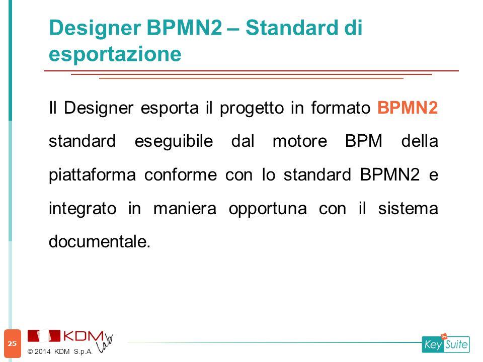 Designer BPMN2 – Standard di esportazione Il Designer esporta il progetto in formato BPMN2 standard eseguibile dal motore BPM della piattaforma conforme con lo standard BPMN2 e integrato in maniera opportuna con il sistema documentale.