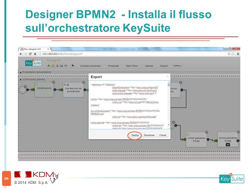 Designer BPMN2 - Installa il flusso sull'orchestratore KeySuite © 2014 KDM S.p.A. 26