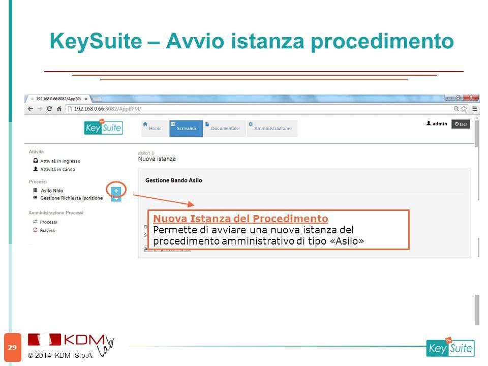 Nuova Istanza del Procedimento Permette di avviare una nuova istanza del procedimento amministrativo di tipo «Asilo» KeySuite – Avvio istanza procedim