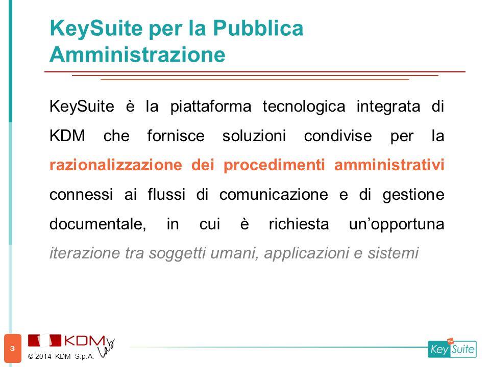 KeySuite per la Pubblica Amministrazione KeySuite è la piattaforma tecnologica integrata di KDM che fornisce soluzioni condivise per la razionalizzazione dei procedimenti amministrativi connessi ai flussi di comunicazione e di gestione documentale, in cui è richiesta un'opportuna iterazione tra soggetti umani, applicazioni e sistemi © 2014 KDM S.p.A.