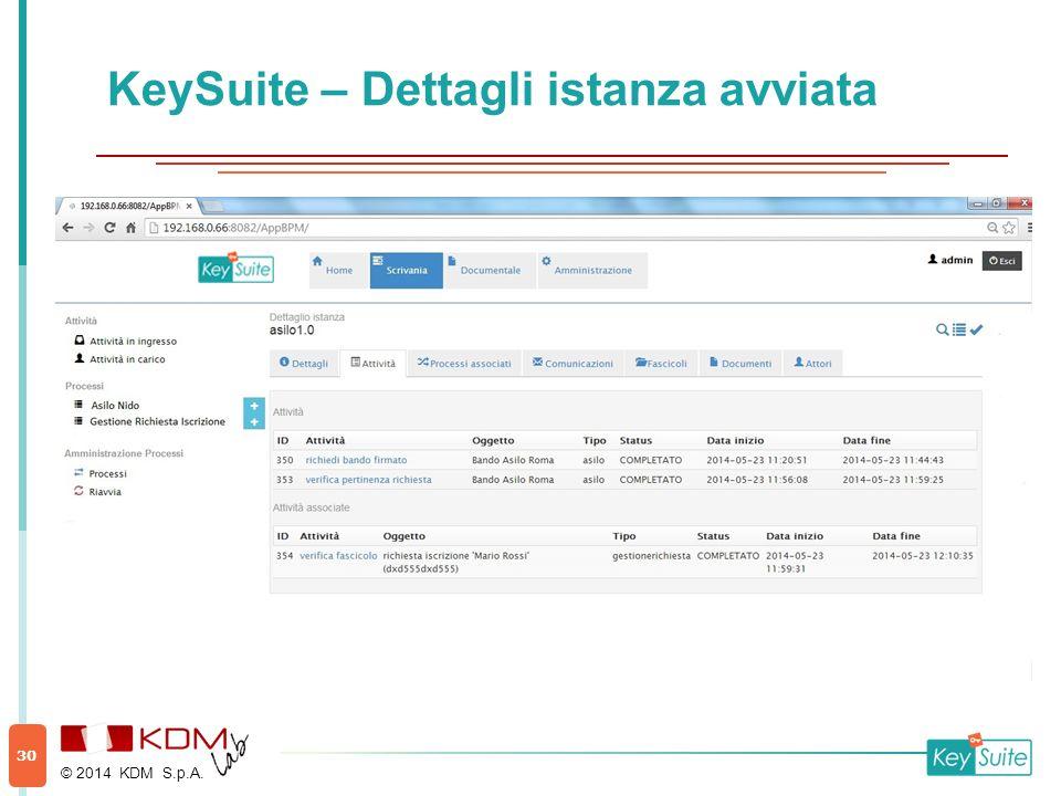 KeySuite – Dettagli istanza avviata © 2014 KDM S.p.A. 30