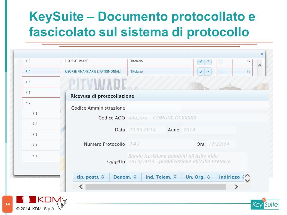 KeySuite – Documento protocollato e fascicolato sul sistema di protocollo © 2014 KDM S.p.A. 34