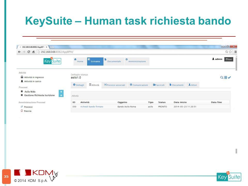 KeySuite – Human task richiesta bando © 2014 KDM S.p.A. 35