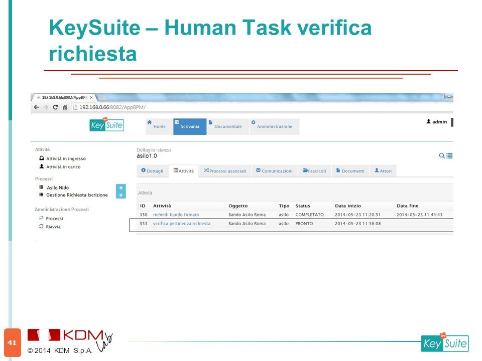 KeySuite – Human Task verifica richiesta © 2014 KDM S.p.A. 41