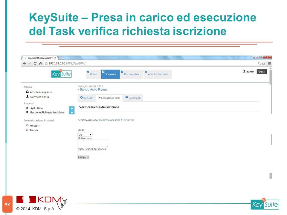 KeySuite – Presa in carico ed esecuzione del Task verifica richiesta iscrizione © 2014 KDM S.p.A. 42