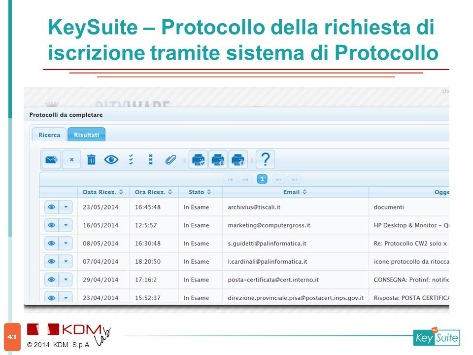 KeySuite – Protocollo della richiesta di iscrizione tramite sistema di Protocollo © 2014 KDM S.p.A. 43