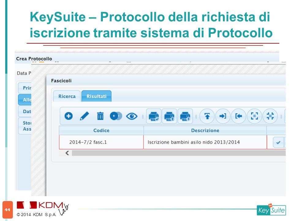 KeySuite – Protocollo della richiesta di iscrizione tramite sistema di Protocollo © 2014 KDM S.p.A. 44