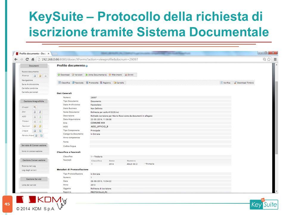 KeySuite – Protocollo della richiesta di iscrizione tramite Sistema Documentale © 2014 KDM S.p.A. 45