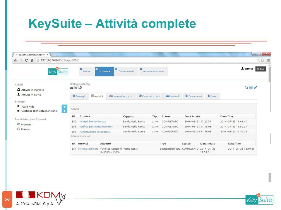 KeySuite – Attività complete © 2014 KDM S.p.A. 56