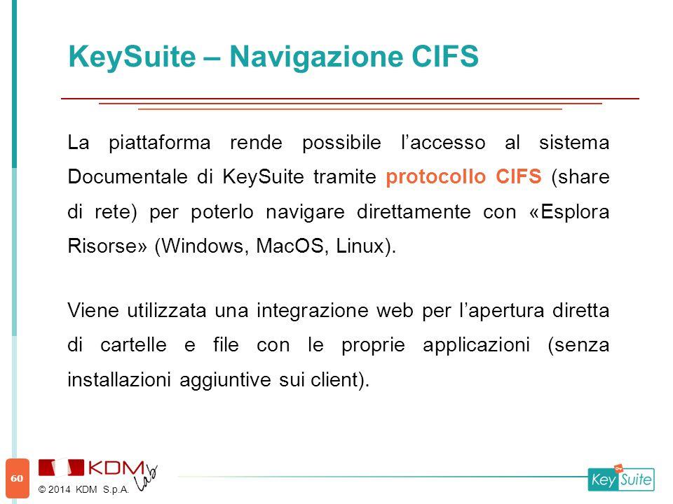 KeySuite – Navigazione CIFS La piattaforma rende possibile l'accesso al sistema Documentale di KeySuite tramite protocollo CIFS (share di rete) per poterlo navigare direttamente con «Esplora Risorse» (Windows, MacOS, Linux).