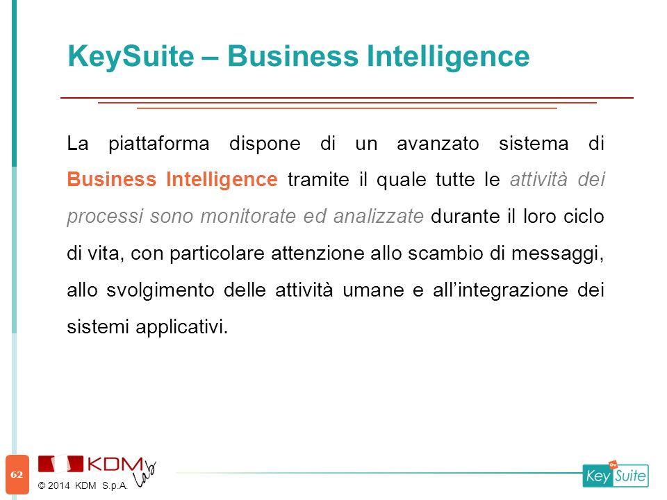 KeySuite – Business Intelligence La piattaforma dispone di un avanzato sistema di Business Intelligence tramite il quale tutte le attività dei process