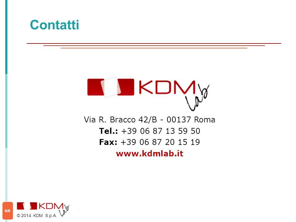 Contatti © 2014 KDM S.p.A. 68 Via R. Bracco 42/B - 00137 Roma Tel.: +39 06 87 13 59 50 Fax: +39 06 87 20 15 19 www.kdmlab.it