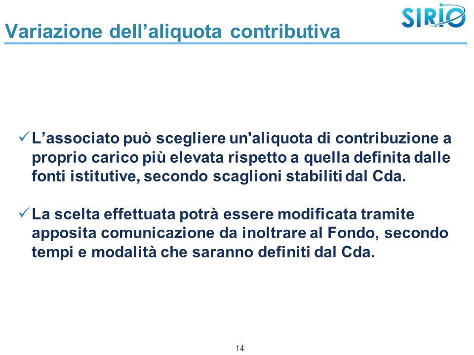 Variazione dell'aliquota contributiva L'associato può scegliere un aliquota di contribuzione a proprio carico più elevata rispetto a quella definita dalle fonti istitutive, secondo scaglioni stabiliti dal Cda.