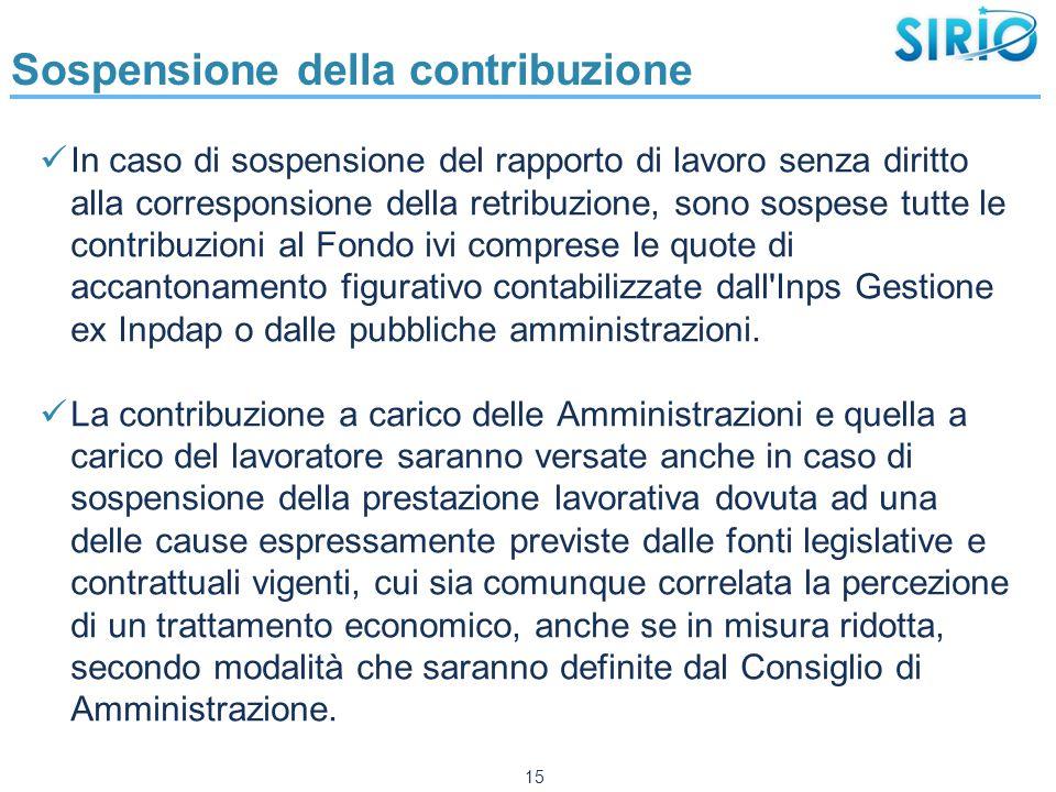 Sospensione della contribuzione In caso di sospensione del rapporto di lavoro senza diritto alla corresponsione della retribuzione, sono sospese tutte