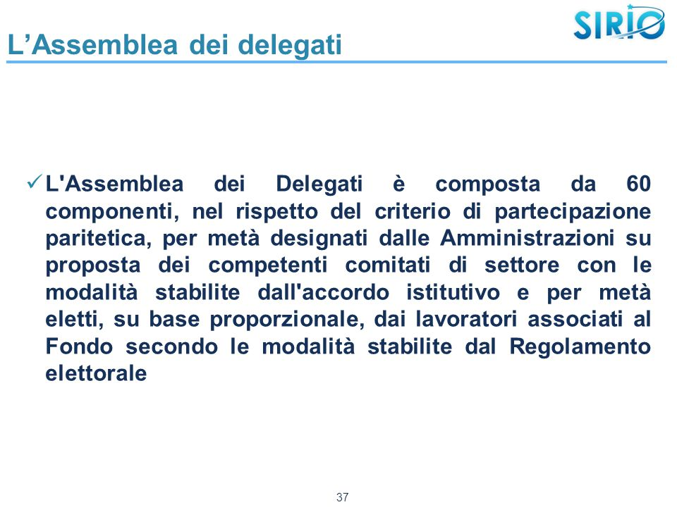 L'Assemblea dei delegati L'Assemblea dei Delegati è composta da 60 componenti, nel rispetto del criterio di partecipazione paritetica, per metà design