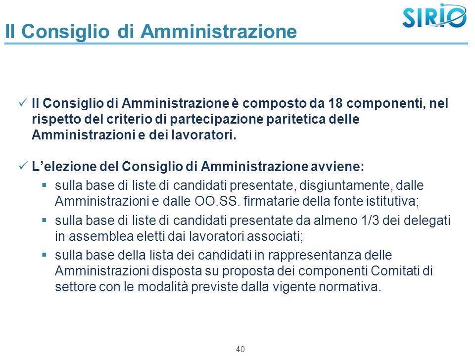 Il Consiglio di Amministrazione Il Consiglio di Amministrazione è composto da 18 componenti, nel rispetto del criterio di partecipazione paritetica delle Amministrazioni e dei lavoratori.