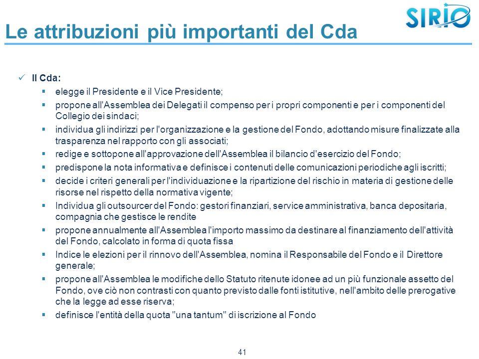 Le attribuzioni più importanti del Cda Il Cda:  elegge il Presidente e il Vice Presidente;  propone all'Assemblea dei Delegati il compenso per i pro