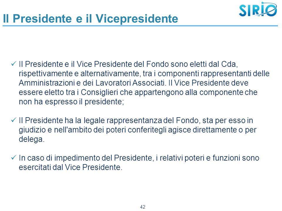 Il Presidente e il Vicepresidente Il Presidente e il Vice Presidente del Fondo sono eletti dal Cda, rispettivamente e alternativamente, tra i componenti rappresentanti delle Amministrazioni e dei Lavoratori Associati.