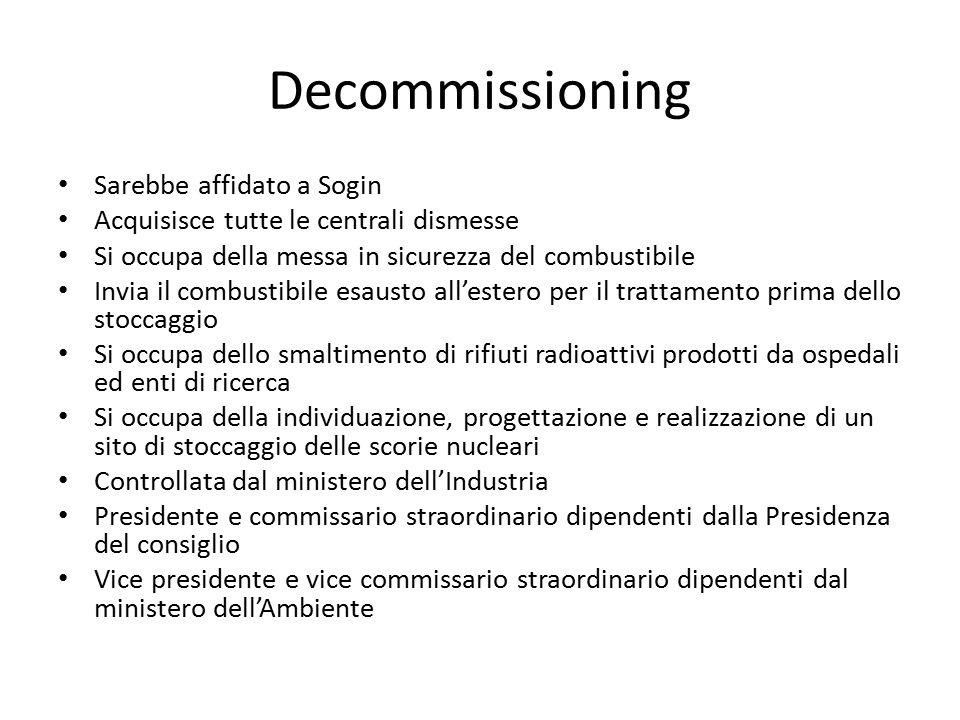 Decommissioning Sarebbe affidato a Sogin Acquisisce tutte le centrali dismesse Si occupa della messa in sicurezza del combustibile Invia il combustibi