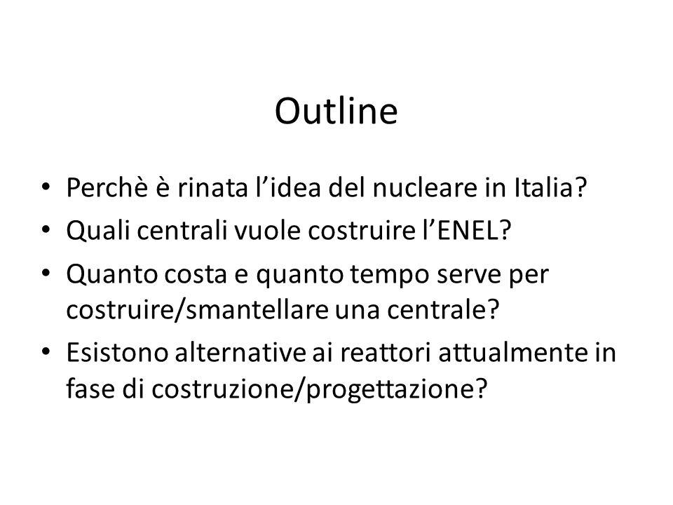 Outline Perchè è rinata l'idea del nucleare in Italia? Quali centrali vuole costruire l'ENEL? Quanto costa e quanto tempo serve per costruire/smantell