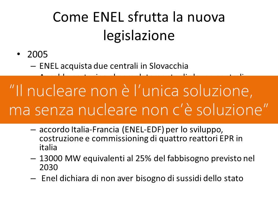 Come ENEL sfrutta la nuova legislazione 2005 – ENEL acquista due centrali in Slovacchia – Ansaldo partecipa al completamento di alcune centrali nell'europa dell'est, Cina e Francia – ENEL partecipa (12.5%) alla costruzione del primo reattore EPR in Francia (Flamanville) 2009 – accordo Italia-Francia (ENEL-EDF) per lo sviluppo, costruzione e commissioning di quattro reattori EPR in italia – 13000 MW equivalenti al 25% del fabbisogno previsto nel 2030 – Enel dichiara di non aver bisogno di sussidi dello stato
