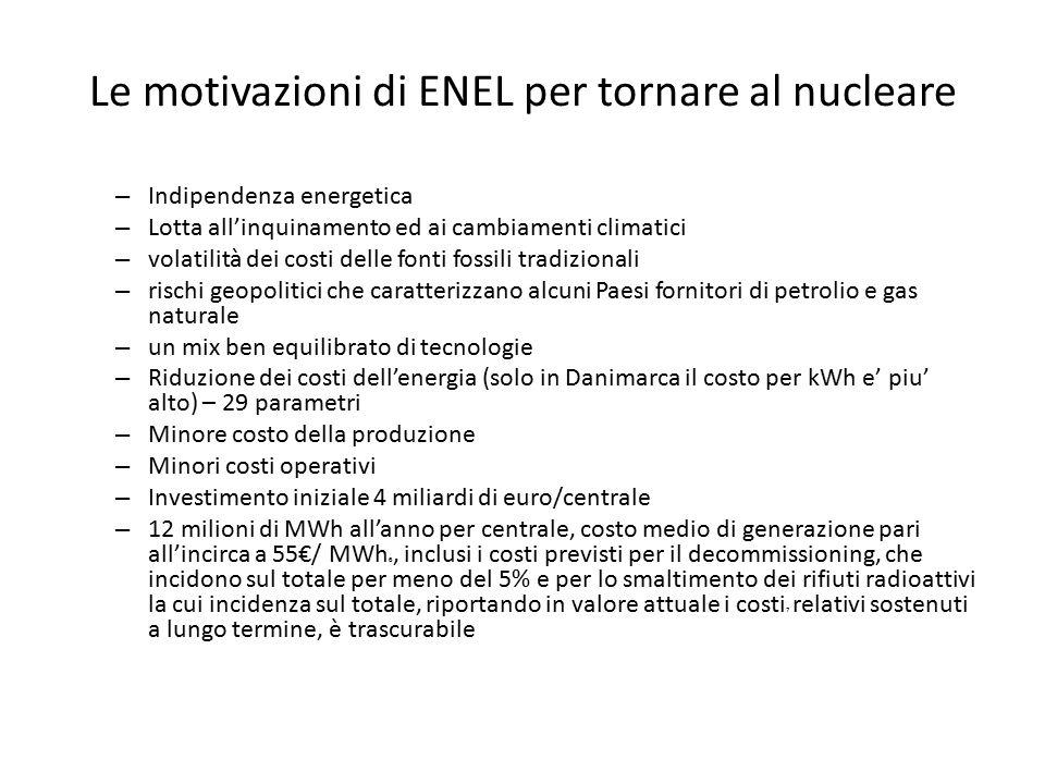Le motivazioni di ENEL per tornare al nucleare – Indipendenza energetica – Lotta all'inquinamento ed ai cambiamenti climatici – volatilità dei costi d