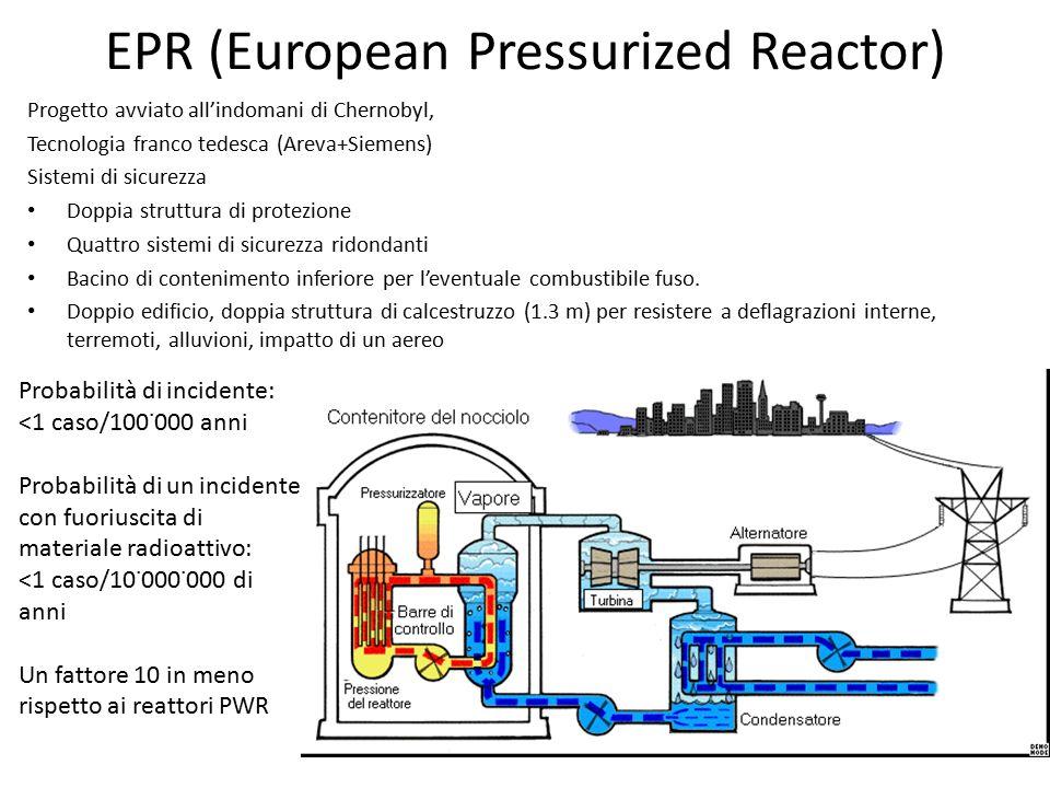 EPR (European Pressurized Reactor) Progetto avviato all'indomani di Chernobyl, Tecnologia franco tedesca (Areva+Siemens) Sistemi di sicurezza Doppia struttura di protezione Quattro sistemi di sicurezza ridondanti Bacino di contenimento inferiore per l'eventuale combustibile fuso.