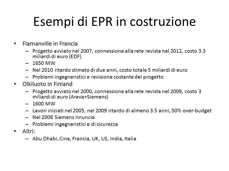Esempi di EPR in costruzione Flamanville in Francia – Progetto avviato nel 2007, connessione alla rete revista nel 2012, costo 3.3 miliardi di euro (EDF) – 1650 MW – Nel 2010 ritardo stimato di due anni, costo totale 5 miliardi di euro – Problemi ingegneristici e revisione costante del progetto Olkiluoto in Finland – Progetto avviato nel 2000, connessione alla rete revista nel 2009, costo 3 miliardi di euro (Areva+Siemens) – 1600 MW – Lavori iniziati nel 2005, nel 2009 ritardo di almeno 3.5 anni, 50% over-budget – Nel 2008 Siemens rinuncia – Problemi ingegneristici e di sicurezza Altri: – Abu Dhabi, Cina, Francia, UK, US, India, Italia