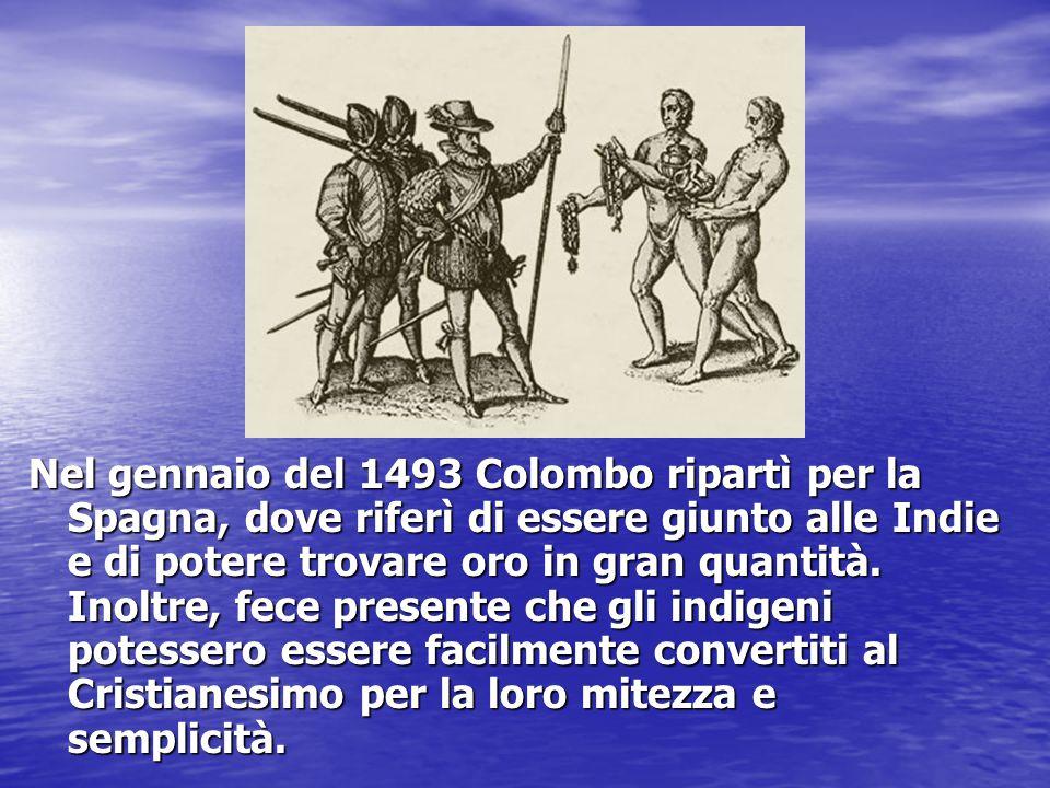 Nel gennaio del 1493 Colombo ripartì per la Spagna, dove riferì di essere giunto alle Indie e di potere trovare oro in gran quantità. Inoltre, fece pr