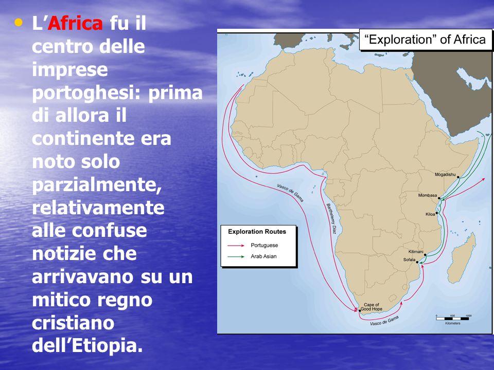 I Portoghesi iniziarono col conquistare Ceuta, in Marocco, punto d'arrivo del commercio carovaniero attraverso il Sahara: il controllo di schiavi, avorio e oro era nelle loro mani.