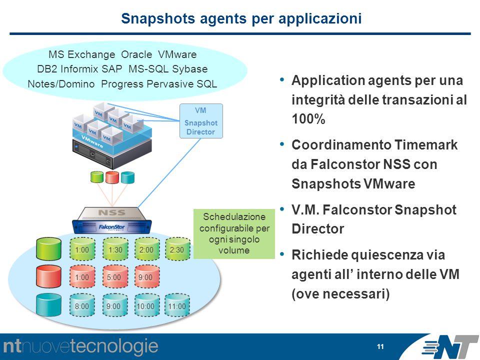 11 Snapshots agents per applicazioni Application agents per una integrità delle transazioni al 100% Coordinamento Timemark da Falconstor NSS con Snapshots VMware V.M.
